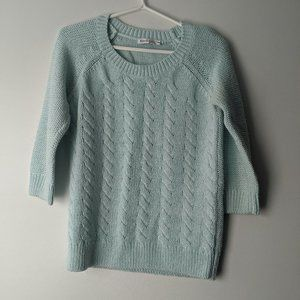 Ricki's 3/4 Sleeve Cable Knit Sweater Mint Medium